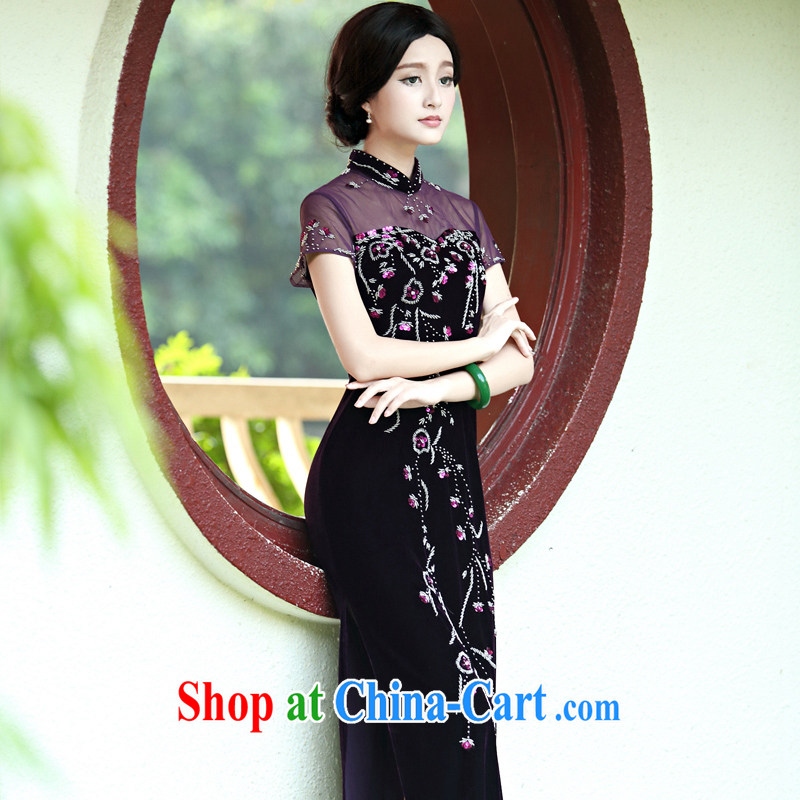 The Yee-Elizabeth vines retro upscale staples Pearl velvet banquet long cheongsam improved stylish dress cheongsam dress H D purple L