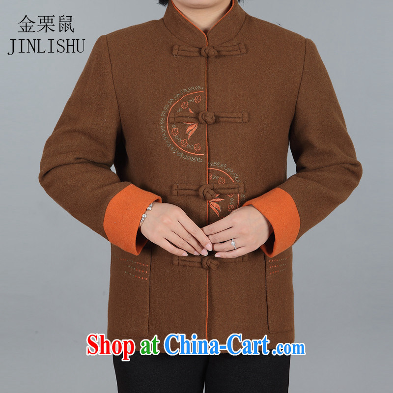 The chestnut mouse new, older women with autumn and winter coat MOM installed? A Chinese lady older persons T-shirt khaki XXXL