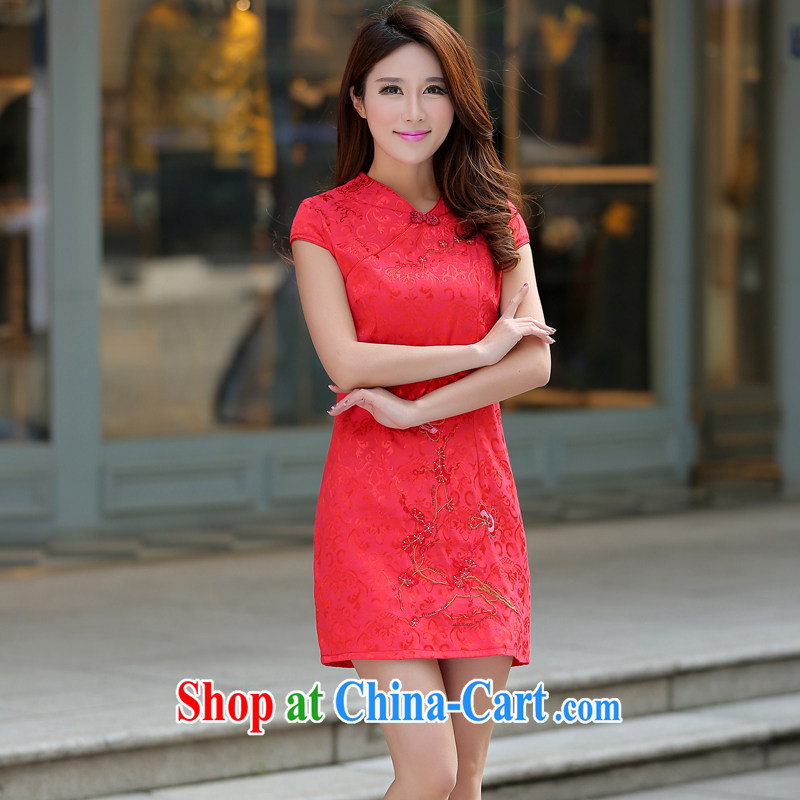 Golden Harvest, summer 2015 new Chinese Dress skirt Korean bridal toast clothing beauty graphics thin large code Chinese cheongsam dress with dress cheongsam dress FW China Red short-sleeved L