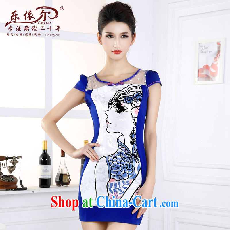 And, in accordance with 2015 new dresses beauty graphics thin daily short-sleeved girl cheongsam dress improved retro set drill spring blue S
