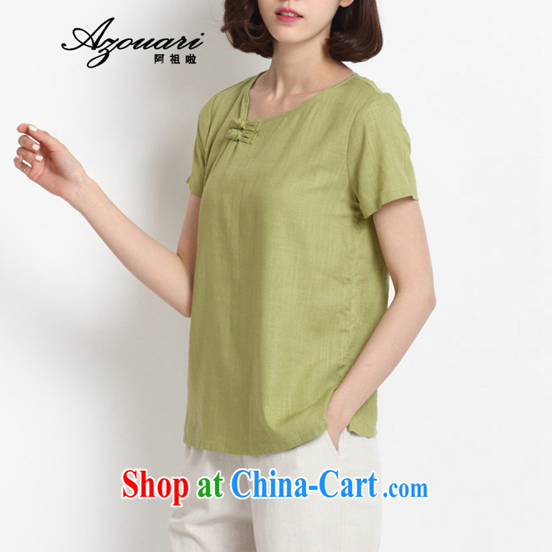 The TSU defense _Azouari_ original spring, a short-sleeved-tie outfit T-shirt retro tea serve girls cotton the literary half sleeve Qiu Xiang green L