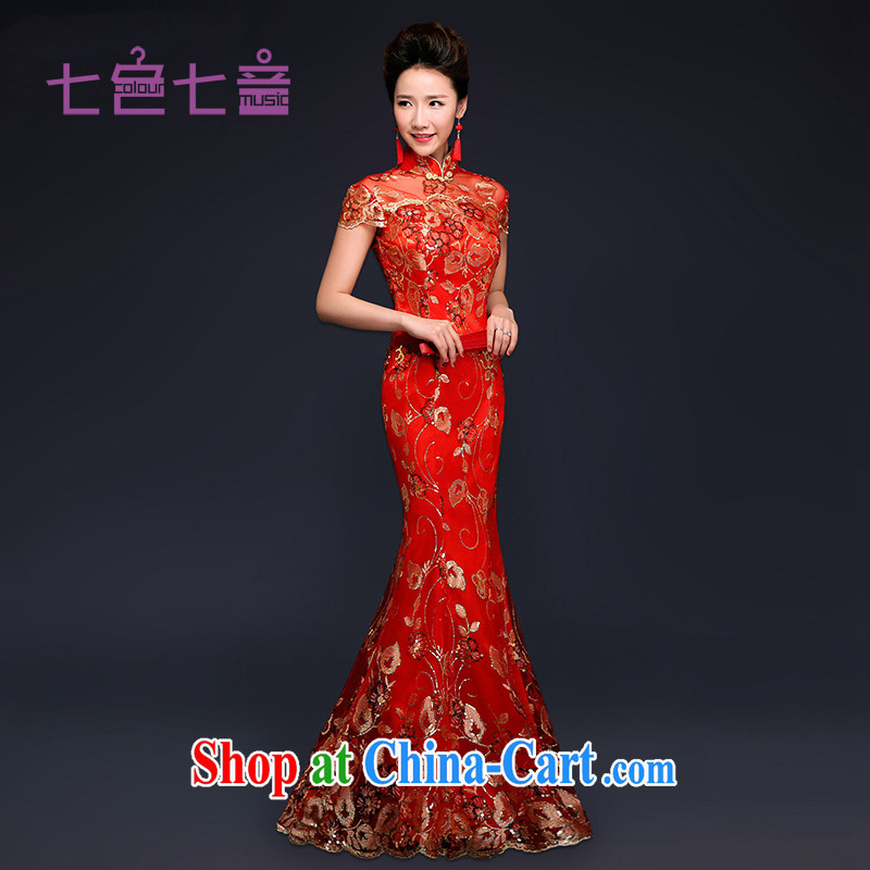 7-Color 7 tone original 2015 new bridal dresses red wedding toast clothing retro package shoulder-length, crowsfoot improved cheongsam Q 003 red L (waist 2 feet 2)
