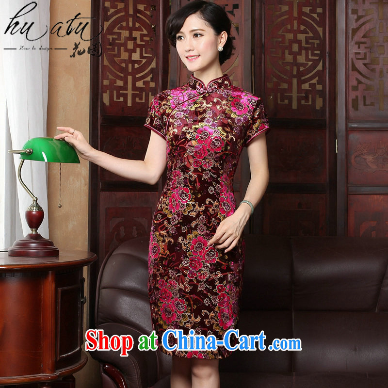 spend the summer new dress dresses retro, for cultivating cheongsam dress velvet dress short-sleeve improved qipao child take 2 XL