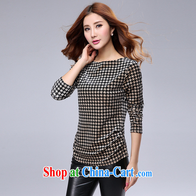 2015 spring new stylish long-sleeved shirt T Korean Beauty solid shirt thick MM 1000 birds, round collar T pension burglary, royal blue 5 XL
