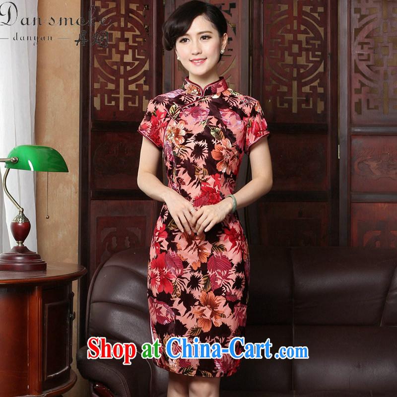 Dan smoke summer new dress dresses retro, for cultivating cheongsam dress velvet dress short-sleeve improved cheongsam red Maple Leaf 2 XL