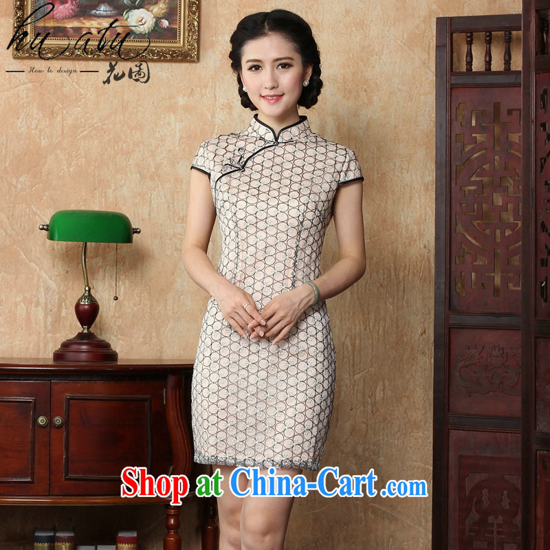 spend the summer new cheongsam dress Ethnic Wind women lace beauty dresses skirts stylish improved retro short cheongsam picture color L