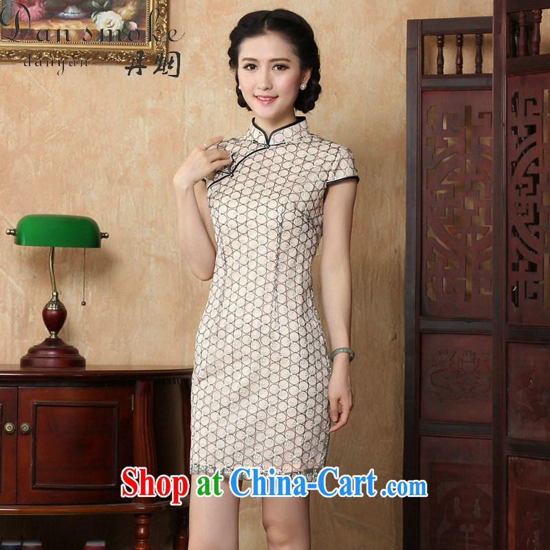 Bin Laden smoke-free summer new cheongsam dress Ethnic Wind female lace beauty dresses skirts stylish improved retro short cheongsam picture color 2 XL, Bin Laden smoke, shopping on the Internet