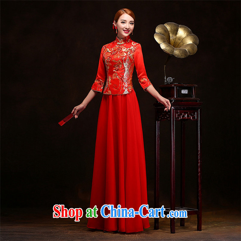 Long dresses, Retro beauty bridal 7 sub-cuff autumn and winter, red outfit, Sau Wo service temperament gentle the Code Red long XXL