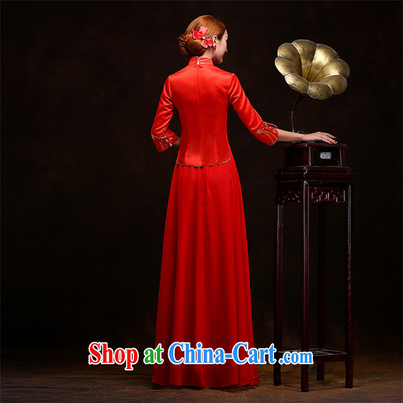 Long dresses, Retro beauty bridal 7 sub-cuff winter, red outfit, Su-wo service temperament gentle the Code Red long XXL, joshon&Joe, shopping on the Internet