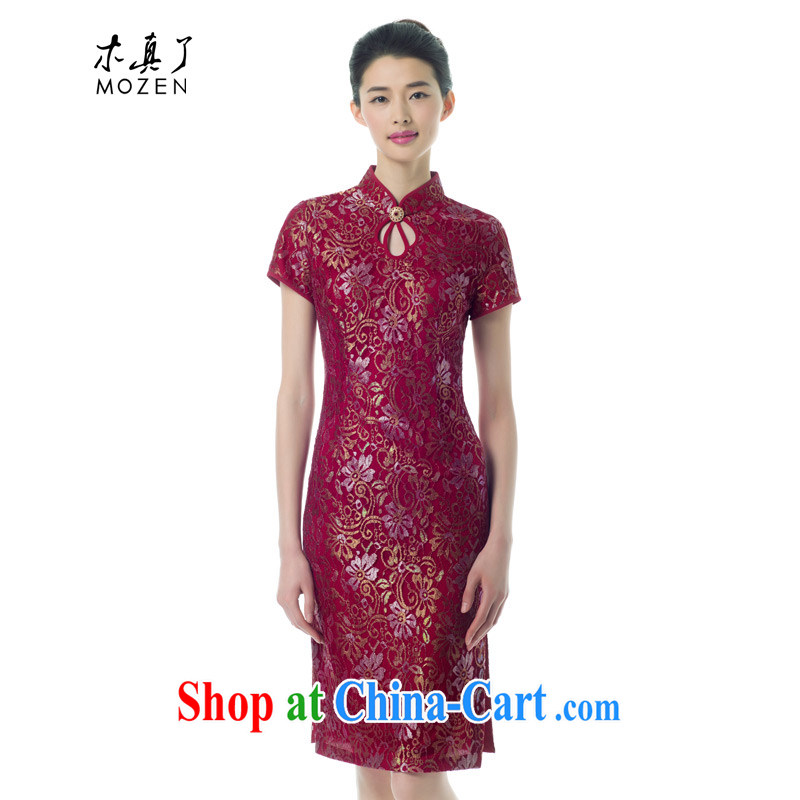 Wood is really the Tang with 2015 spring and summer new, female retro cheongsam dress banquet wedding mom with 43,100 04 deep red XXL (B)