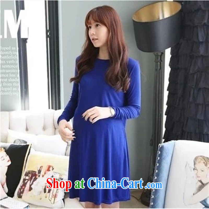 Ya-ting store pregnant women with autumn and the new, larger pregnant women skirts solid color Large skirt stylish long-sleeved maternity dress picture color code