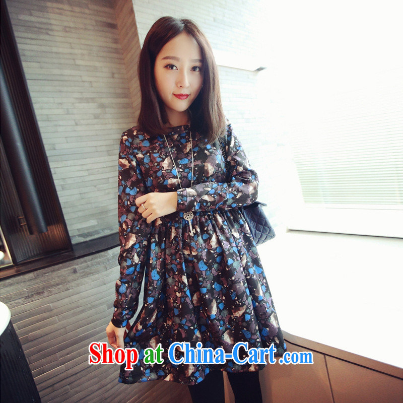 Ya-ting store pregnant women with spring loaded new Korean version loose the code stamp long-sleeved maternity dress Map Color XL