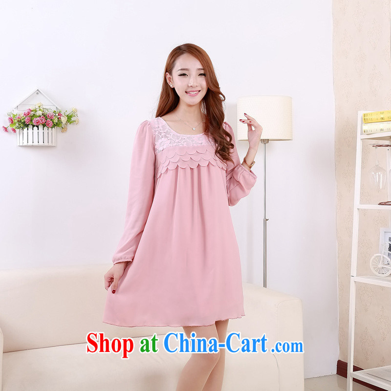 Ya-ting store pregnant women with spring loaded lace stitching snow woven loose long-sleeved maternity dress beige XL