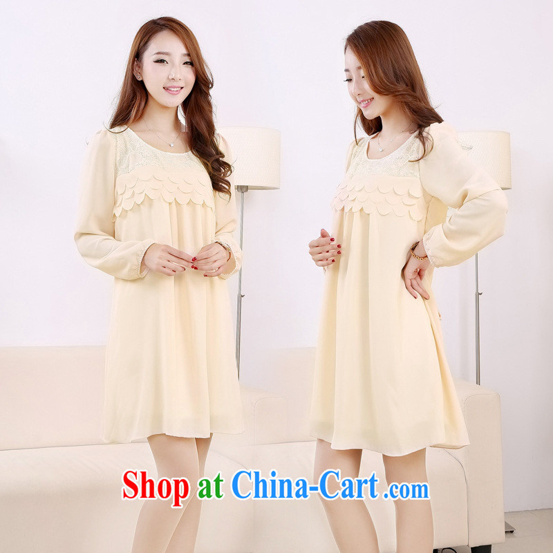 Ya-ting store pregnant women with spring loaded lace stitching snow woven loose long-sleeved maternity dress beige XL, blue rain bow, and, shopping on the Internet