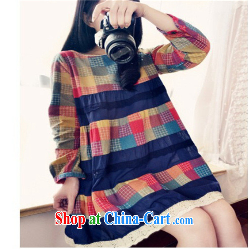 Ya-ting store pregnant women with stylish Korean spring cotton Ma grid stitching cotton long-sleeved maternity dress blue patterned XXL