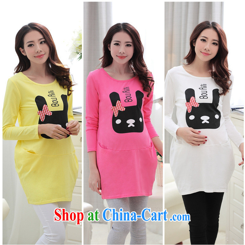 Ya-ting store 2015 pregnant women with new spring, a cartoon stamp stylish pregnant women dress code the pregnant T shirts yellow XL