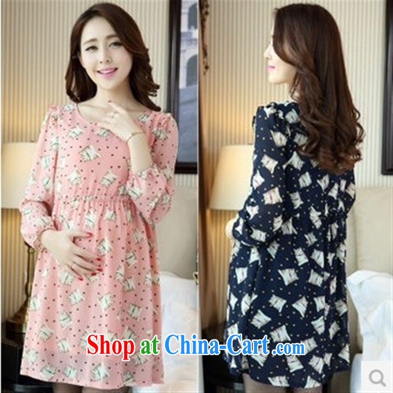 Ya-ting store 2015 new pregnant women with spring loaded pregnant women dresses Korean snow long-sleeved woven pregnant women skirt pink XL
