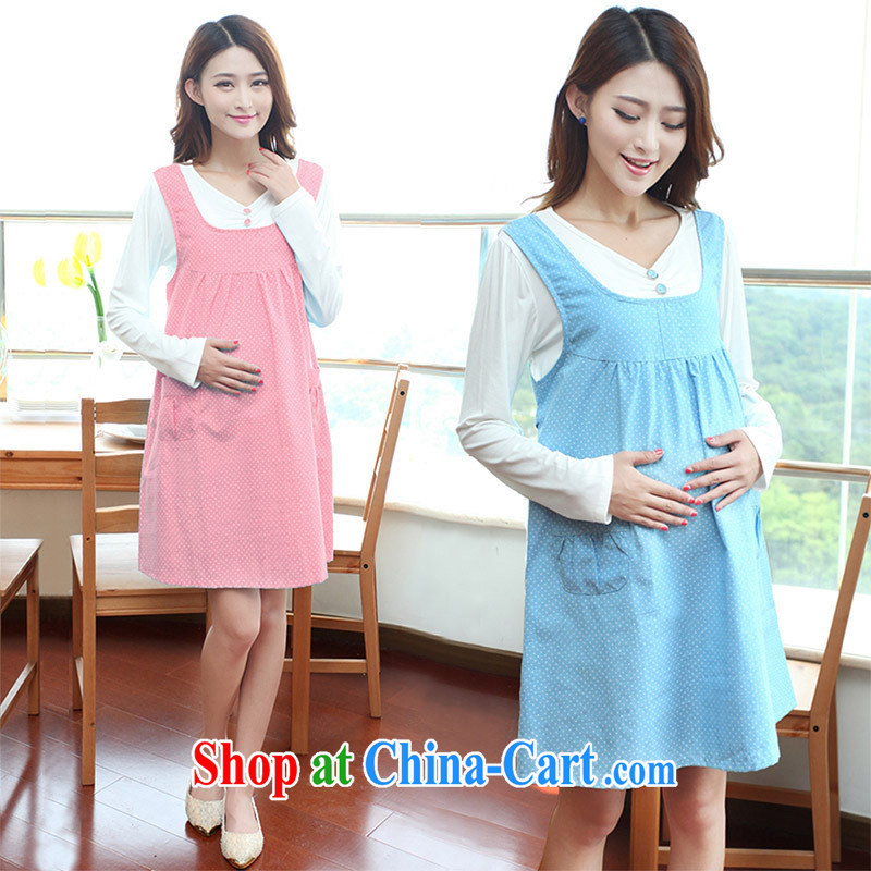 Ya-ting store pregnant women with Korean fashion autumn new dot long-sleeved maternity dress pink XL