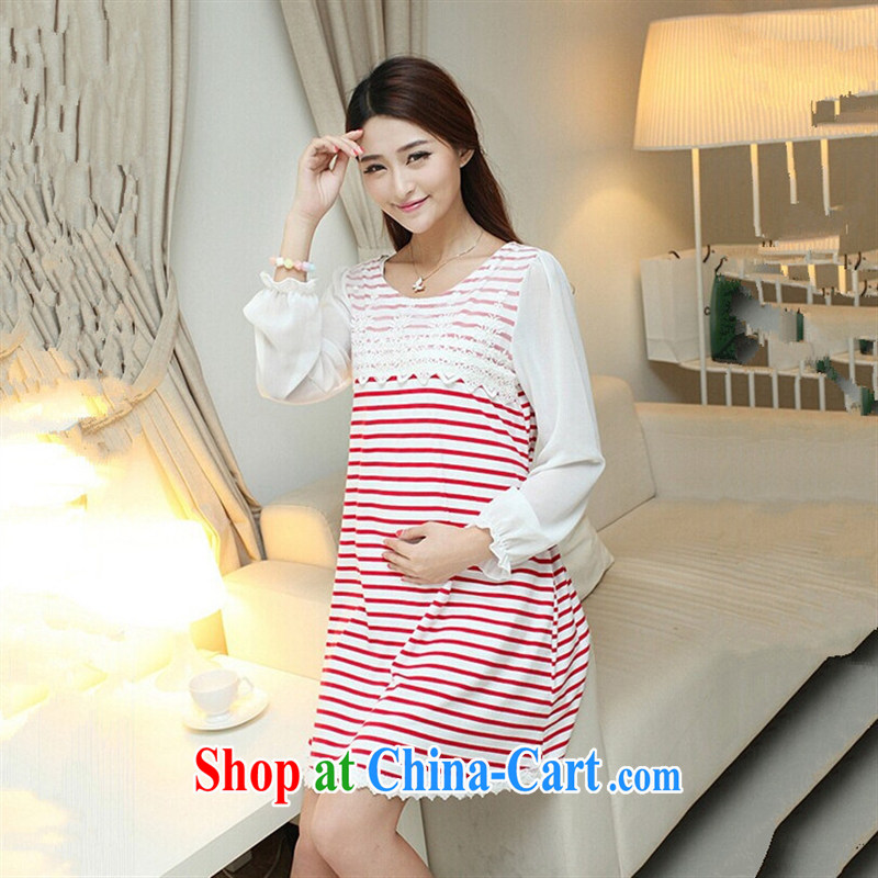 Ya-ting store pregnant women with autumn and the new striped long-sleeved pregnant women dresses fashion dresses red XL