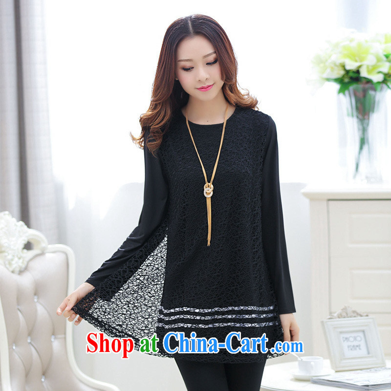 Ya-ting store pregnant women with spring loaded version won the code female Openwork stitching temperament pregnant women long-sleeved dresses black M
