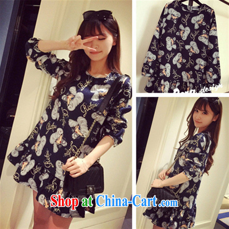 Ya-ting store spring 2015 pregnant women with new Korean cartoon stamp flouncing pregnant women long-sleeved dresses Map Color XL