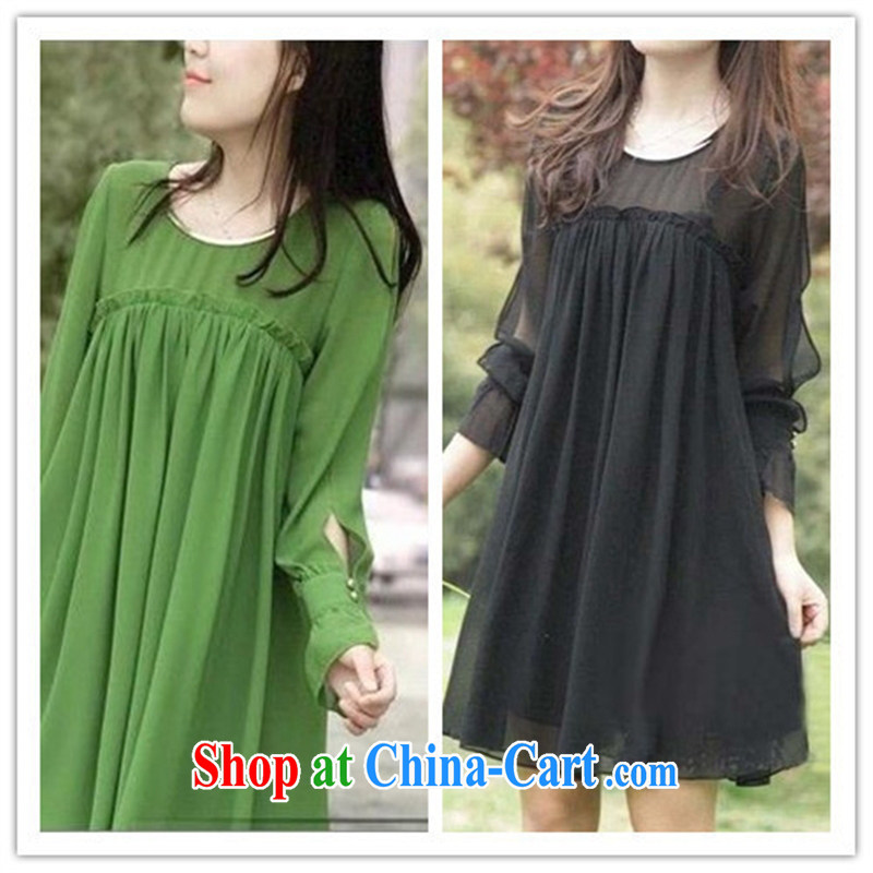 Ya-ting store 2015 spring new pregnant women with large, snow-woven 100 hem loose long-sleeved maternity dress black XXL
