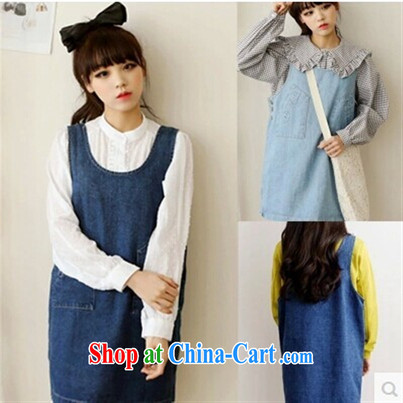 Ya-ting store pregnant women with Korean style spring and summer new loose the code cowboy back with skirt pregnant women dress light blue XXXL