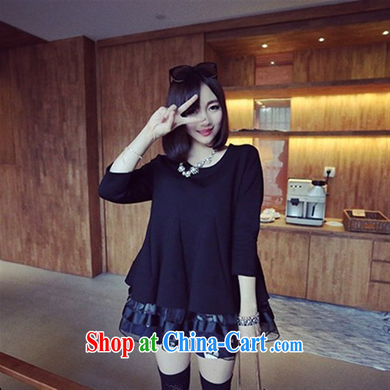 Ya-ting store spring 2015 pregnant women with new Shaggy, with long-sleeved maternity dress black XL