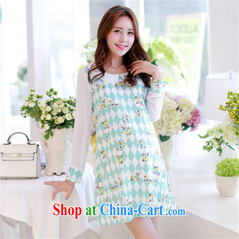 Ya-ting store pregnant women with stylish Korean snow woven stamp long-sleeved maternity dress light blue XL