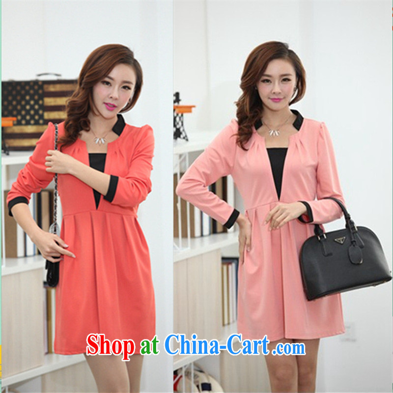Ya-ting store pregnant women with autumn and the new dress personalized V collar loose pregnant women dress orange XL