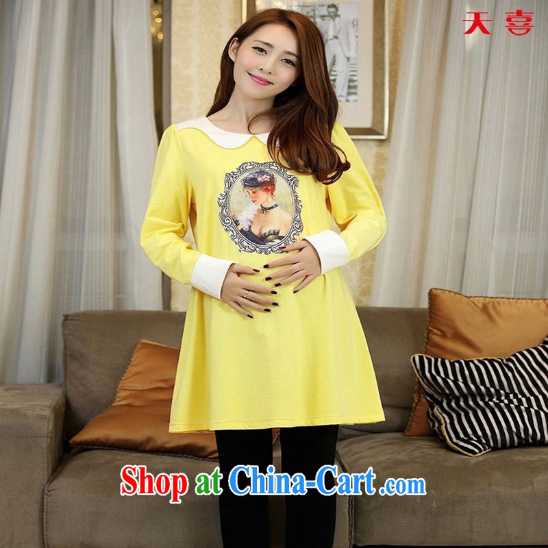 Ya-ting store pregnant women with autumn Korea edition loose the code figures long-sleeved maternity dress pale yellow XL