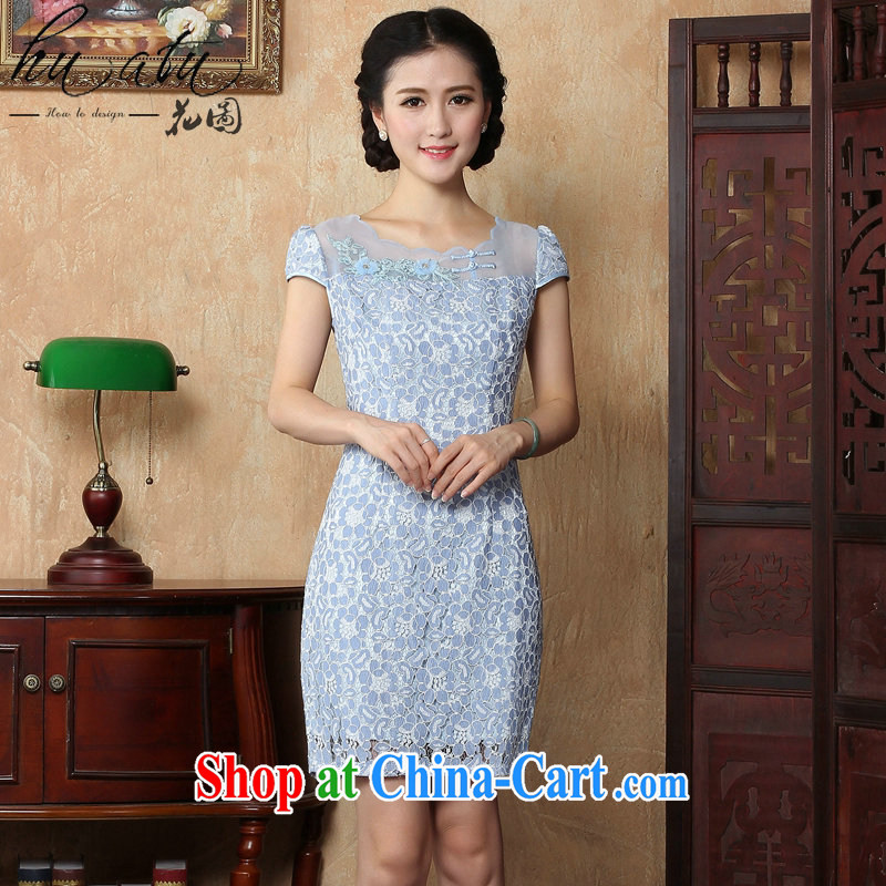 spend the summer with new girls daily personality and Beauty package and tight short lace cheongsam dress the dress light blue XL
