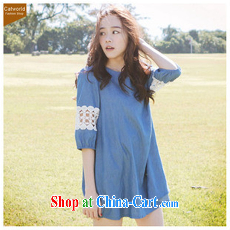 Ya-ting store 2014 new stylish pregnant women with jeans pregnant women dress blue L