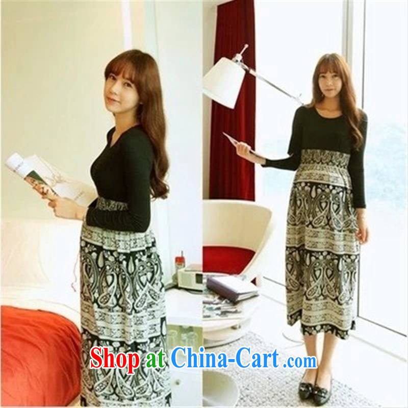 Ya-ting store pregnant women with Korean fashion Autumn with new, larger pregnant women pregnant women skirt long-sleeved dresses picture color code