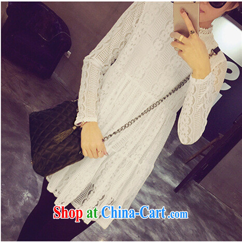 Ya-ting store spring 2015 pregnant women with Korean style white lace hook take pregnant women long-sleeved dresses black are code