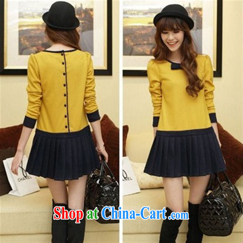 Ya-ting store autumn 2014 the new Korean pregnant women as well as the codes that gross solid skirt stylish pregnant women dresses yellow XL