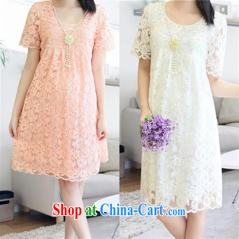 Ya-ting store spring 2015 pregnant women with stylish new pregnant women lace skirt summer skirt pregnant women dress pink XL