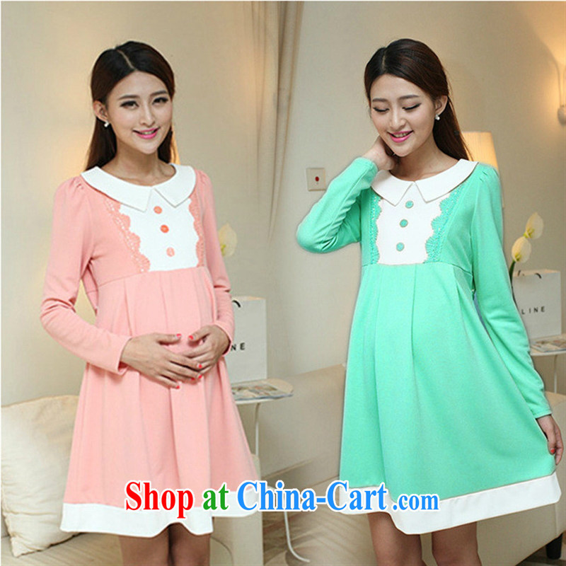 Ya-ting store pregnant women with stylish Korean autumn with long-sleeved maternity dress dress pink XL