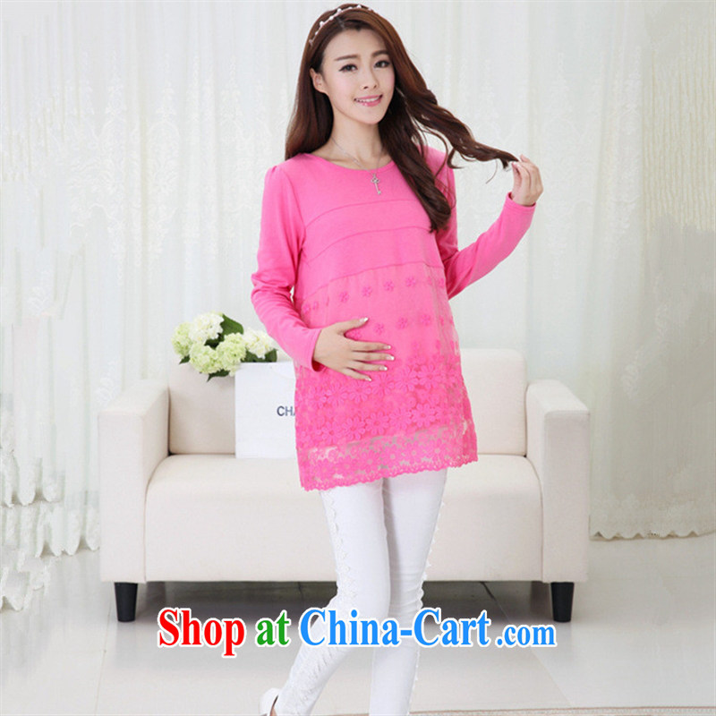 Ya-ting store pregnant women with Korean fashion autumn and the new round-collar lace skirt pregnant women pregnant women long-sleeved dresses watermelon red XL