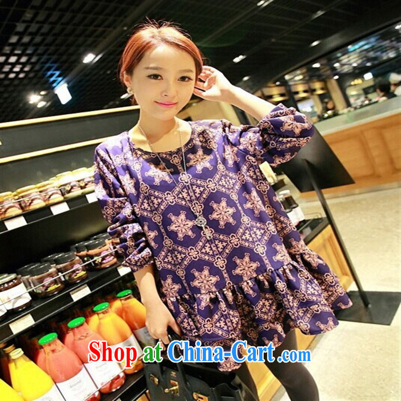 Ya-ting store autumn 2014 the Korean fashion pregnant Palace, dresses pregnant women the long-sleeved T-shirt, Palace - Elegant purple XL
