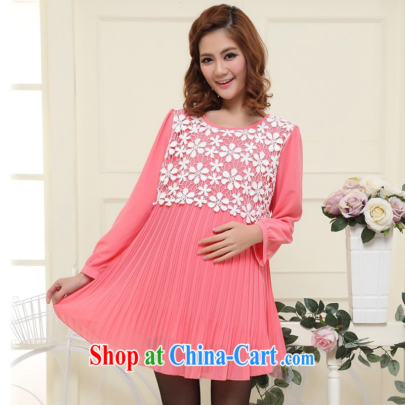 Ya-ting store pregnant women spring loaded new stylish long-sleeved lace Openwork carved snow woven pregnant women dress light blue XL