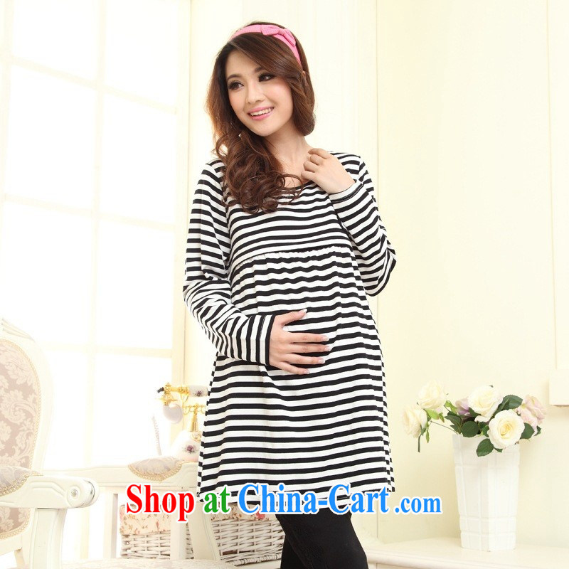 Ya-ting store Korean spring loaded pregnant women with breast feeding and clothing fashion round collar long cotton breast-feeding and clothing black XL