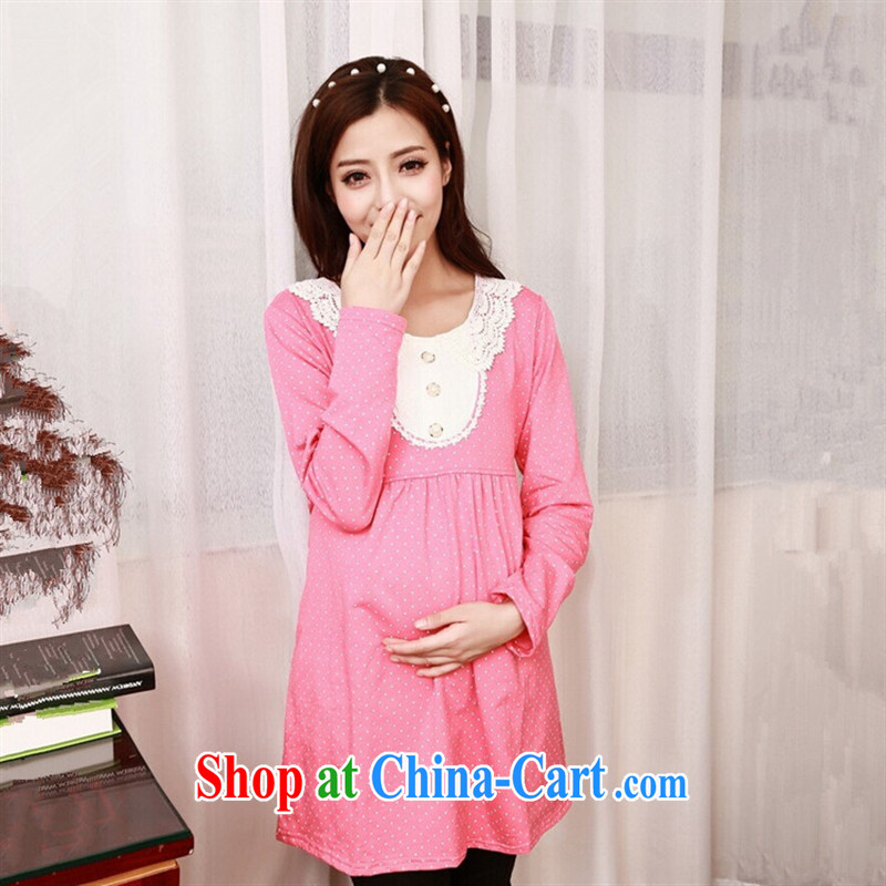 Ya-ting store pregnant women with Spring and Autumn and long-sleeved dresses cotton loose waves, pregnant women dress collection cyan XL