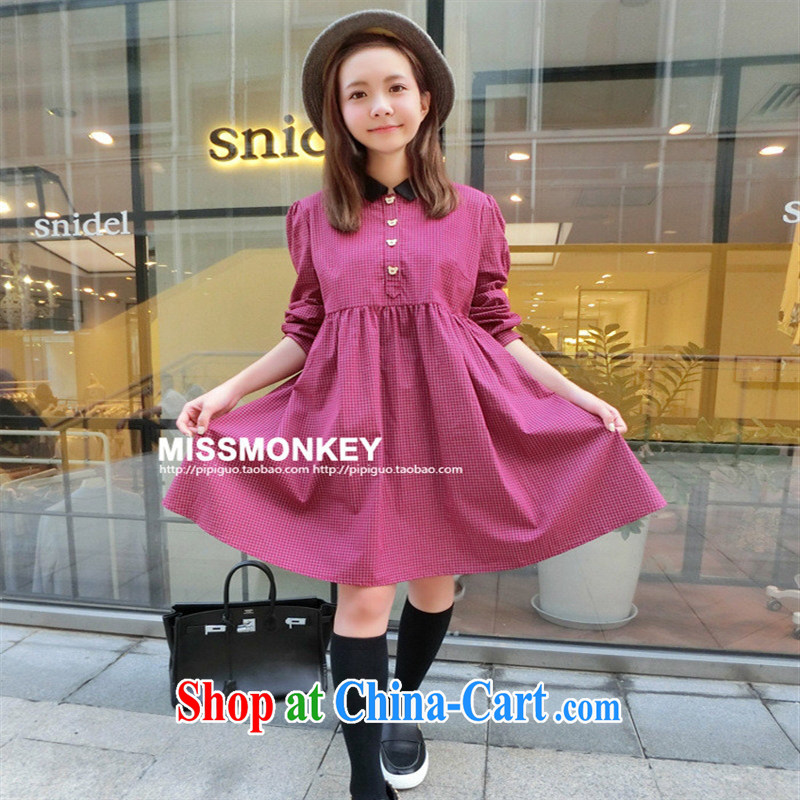 Ya-ting store pregnant women with autumn new lapel high waist relaxed grid doll cotton pregnant women dresses red grid XL