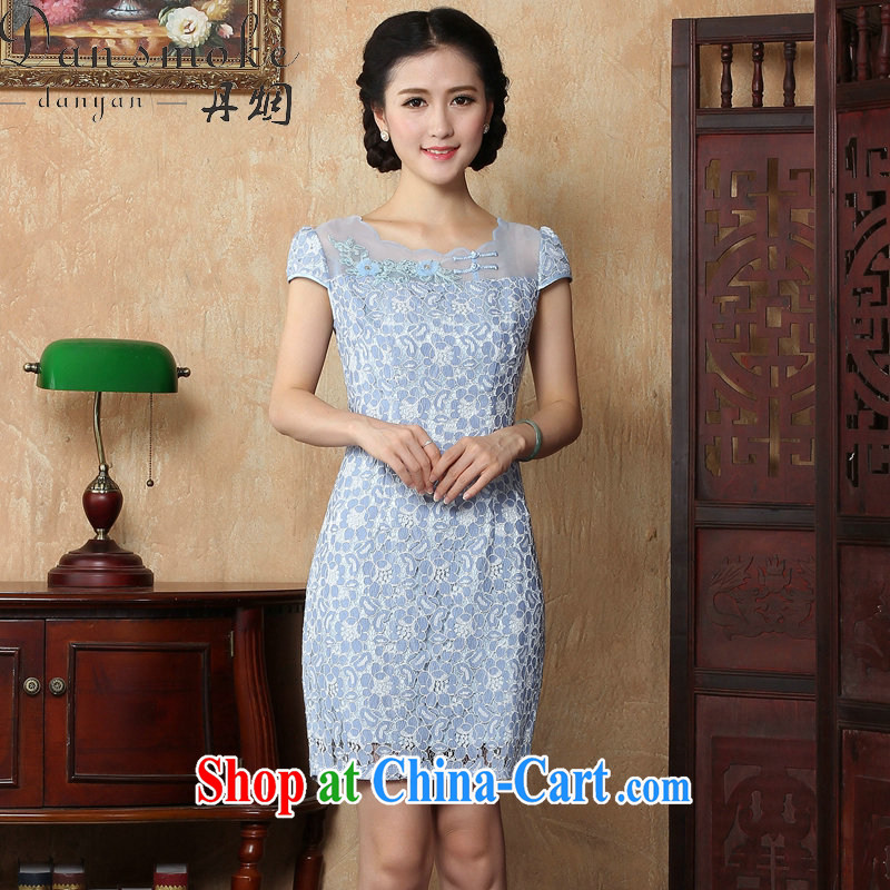 Bin Laden smoke-free summer new dress everyday personality and Beauty package and tight short lace cheongsam dress the dress light blue 2 XL