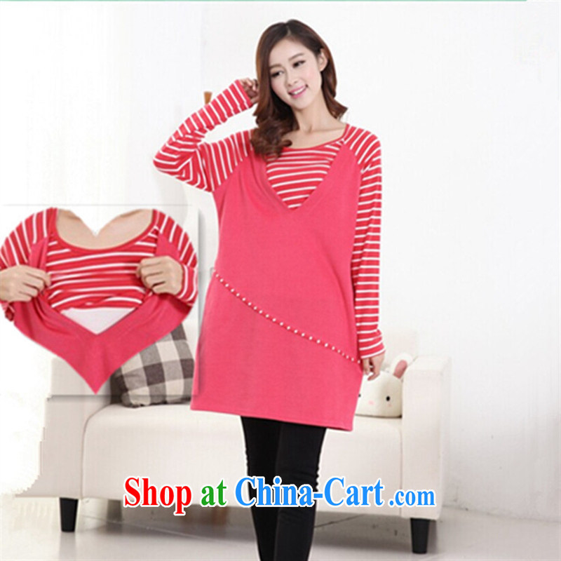 Ya-ting store pregnant women with breast-feeding the Spring and Autumn and Stripes stitching T pension spell color pregnant women dress, feeding and clothing red XL
