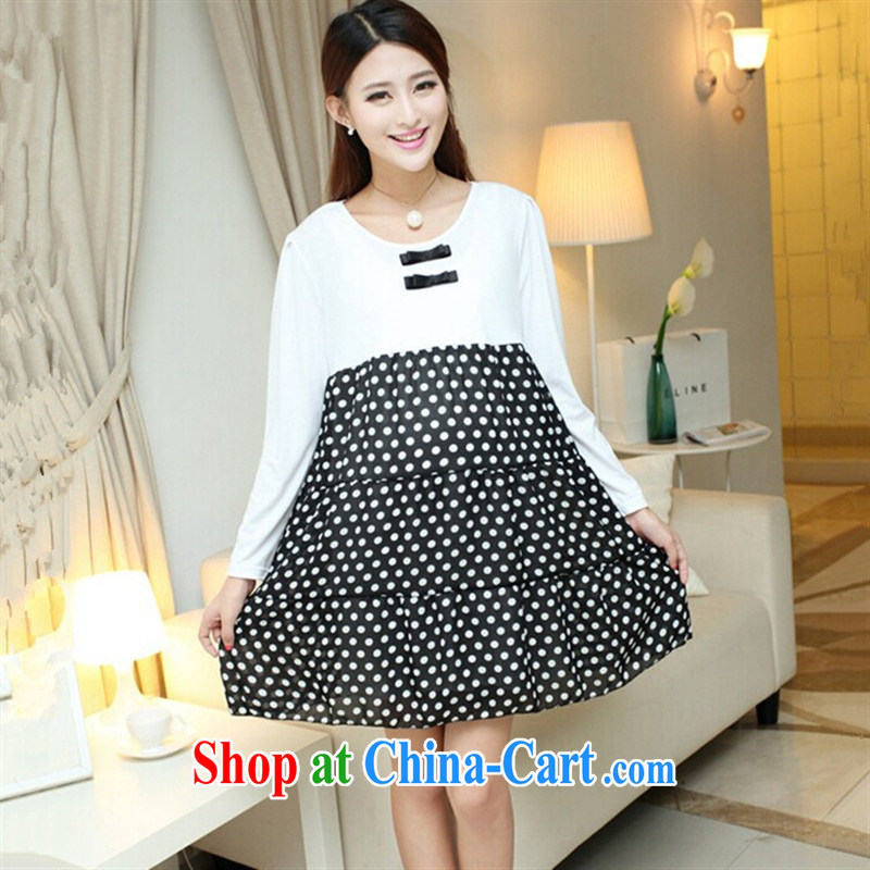 Ya-ting store pregnant women with autumn and the new long-sleeved pregnant women dresses fashion dresses stitching snow woven dresses white XL