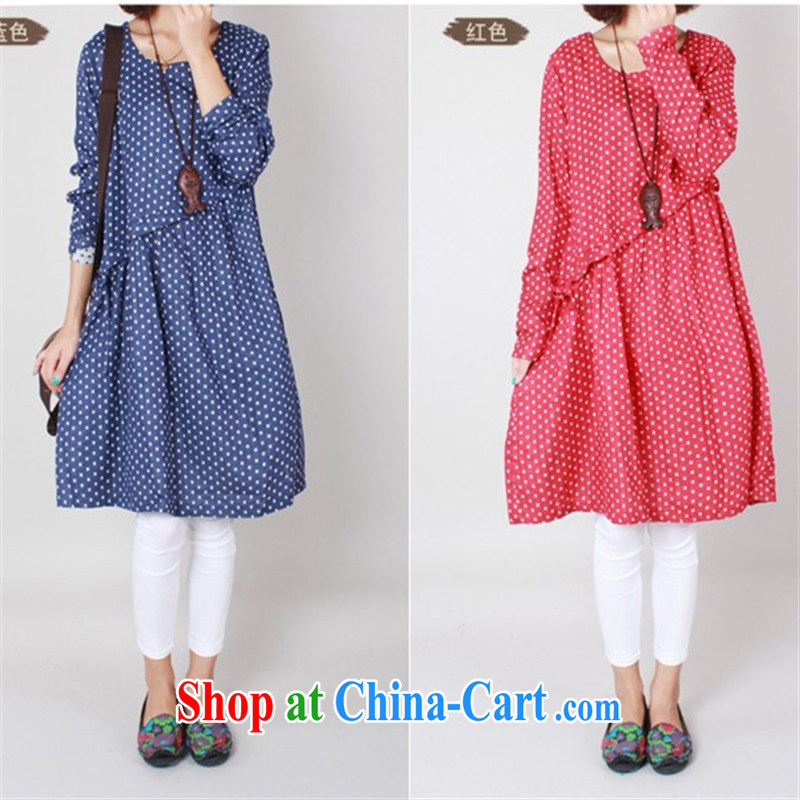 Ya-ting store pregnant women with cotton the loose long-sleeved checkered maternity dress red XL
