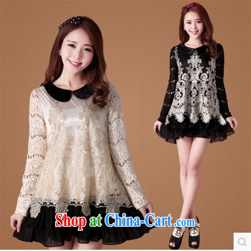 Ya-ting store pregnant women with spring new dolls for embroidery stitching snow woven skirt with pregnant women dress black XXXL