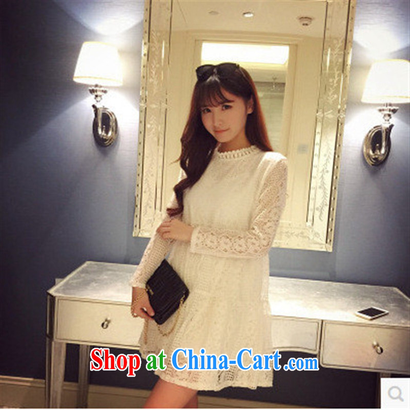 Ya-ting store spring 2015 pregnant women with Korean style white lace hook take pregnant women long-sleeved dresses white XL